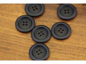 Černý  knoflík s prolisem, 22mm