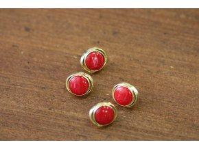 Zlatý knoflík s červeným středem, 13mm