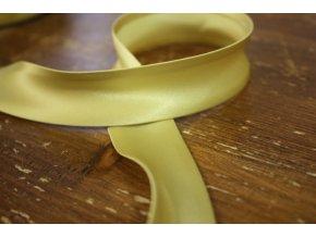 Saténový šikmý proužek, špinavě žlutá 25 mm