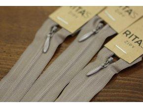 Šedobéžový skrytý zip , 20cm  40cm, 60cm