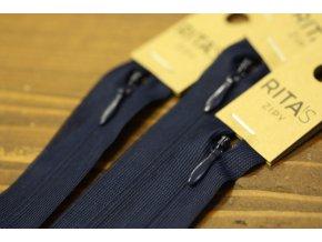 Modrý skrytý zip , 20cm  40cm, 55cm