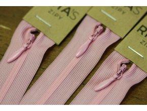 Růžový skrytý zip , 20cm  40cm, 60cm