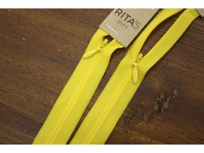 Žlutý skrytý zip 20cm,  40cm, 60cm