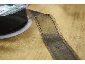 Černá roztřepená organzová stuha, 25mm