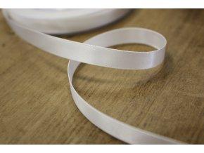 Oboustranná bílá saténová stuha, 9 mm