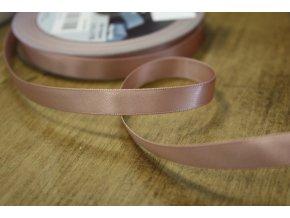 Oboustranná starorůžová saténová stuha, 9 mm