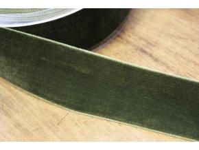 Khaki sametová stuha, 38 mm
