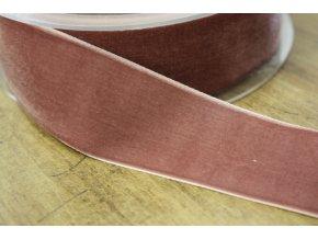 Starorůžová sametová stuha, 38 mm