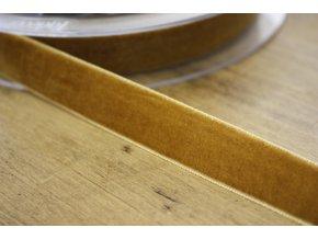 Hořčicová sametová stuha, 16mm