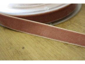 Starorůžová sametová stuha, 16mm