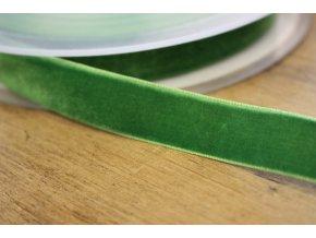 Zelená sametová stuha, 16mm