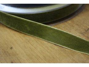 Olivová sametová stuha, 16mm