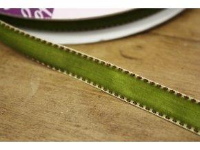 Pistáciová sametová stuha se štepem , 13 mm