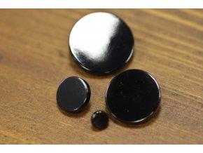 Černý lesklý kovový knoflík, 4 velikosti