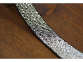 Černo-stříbrná guma s lurexem, 25mm