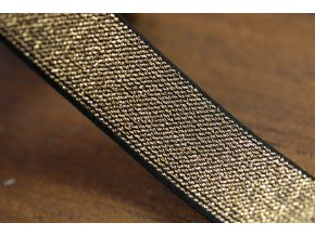 Černo-zlatá guma s lurexem, 25mm