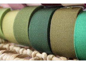 Rypsová stuha v odstínech zelené, 15mm