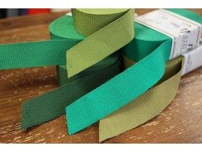 Rypsová stuha v odstínech zelené, 25mm