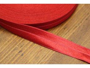Červená  lesklá jemná guma - lemovka, 19 mm