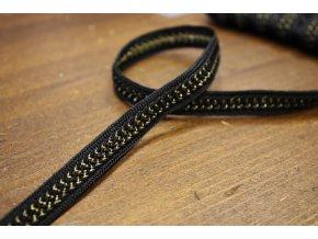 Černo-zlatý prýmek, 10mm