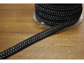 Černý prýmek s metalickou niti, 10mm