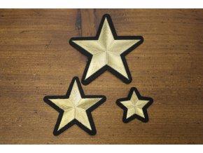 Nažehlovací aplikace ve tvaru hvězdy, 3 velikosti