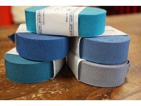 Rypsová stuha v odstínech modré, 25mm
