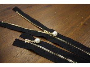 Nedělitelný černý zip s perličkou, 20cm, 30cm