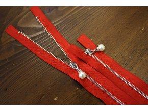Nedělitelný červený zip s perličkou, 20cm