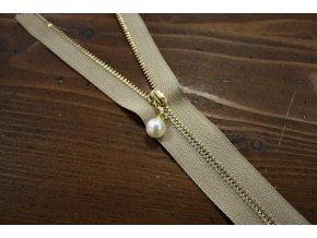 Nedělitelný béžový zip s perličkou, 20cm