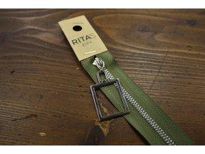 Nedělitelný khaki zip s obdélníkem, 20cm