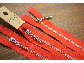 Červený zip se stříbrným kovem, 20cm, 70cm