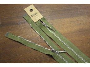 Khaki zip se stříbrným kovem, 20cm, 70cm