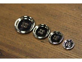 Stříbrný čtyřdírkový kovový knoflík, 4 velikosti