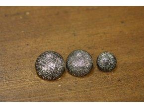 Stříbrný kovový knoflík se strukturou, 3 velikosti