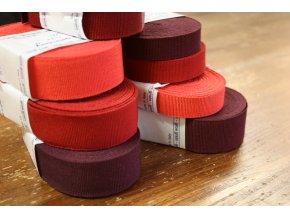 Rypsová stuha v odstínech červené, 15mm