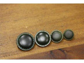 Zelený knoflík se štepem, imitace kůže 4 velikosti