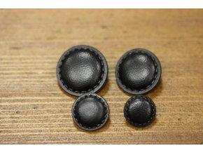 Černý knoflík se štepem, imitace kůže 4 velikosti