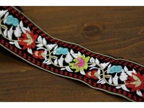 Vyšívaná stuha s květinovým vzorem, 5cm