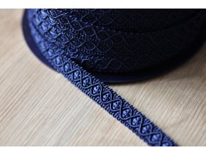 Tmavě modrý dekorativní prýmek, 12mm