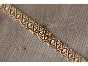 Světle zlatý dekorativní prýmek, 12mm