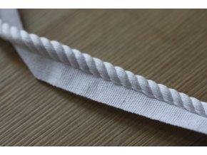 Bílá bavlněná kroucená paspulka, 7,5mm