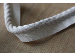 Smetanová bavlněná kroucená paspulka, 7,5mm
