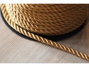 Zlatavý kroucený provaz, 5mm