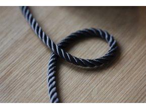 Tmavě šedý kroucený provaz, 5mm
