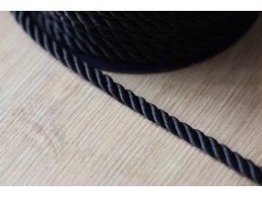 Černý kroucený provaz, 5mm
