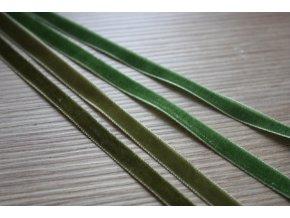 Sametová stuha v odstínech zelené, 7 mm