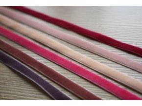 Sametová stuha v odstínech růžové, 7 mm