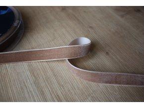 Béžová sametová stuha, 16mm