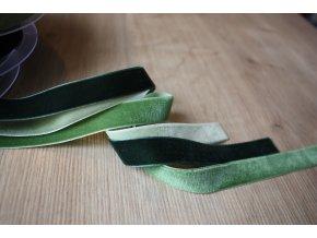 Sametová stuha v odstínech zelené, 16mm